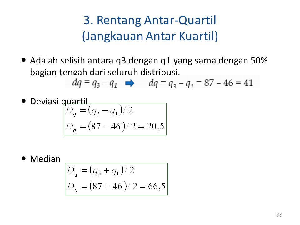 3. Rentang Antar-Quartil (Jangkauan Antar Kuartil) Adalah selisih antara q3 dengan q1 yang sama dengan 50% bagian tengah dari seluruh distribusi. Devi