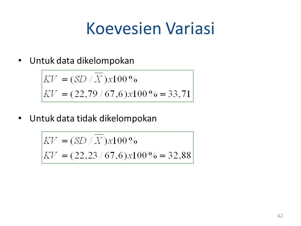 Koevesien Variasi Untuk data dikelompokan Untuk data tidak dikelompokan 42