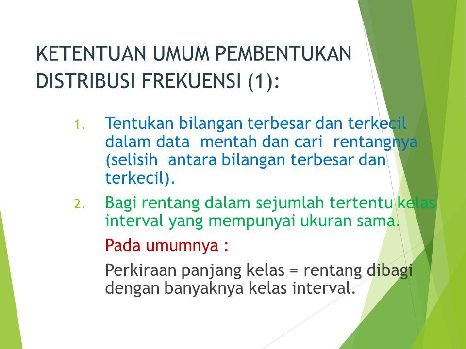 KETENTUAN UMUM PEMBENTUKAN DISTRIBUSI FREKUENSI (1): 1. Tentukan bilangan terbesar dan terkecil dalam data mentah dan cari rentangnya (selisih antara
