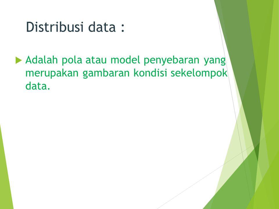 Distribusi data :  Adalah pola atau model penyebaran yang merupakan gambaran kondisi sekelompok data. 2