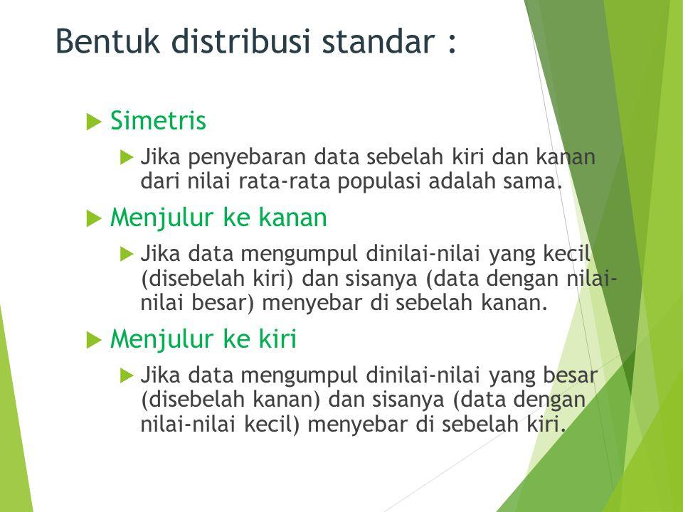 Bentuk distribusi standar :  Simetris  Jika penyebaran data sebelah kiri dan kanan dari nilai rata-rata populasi adalah sama.  Menjulur ke kanan 
