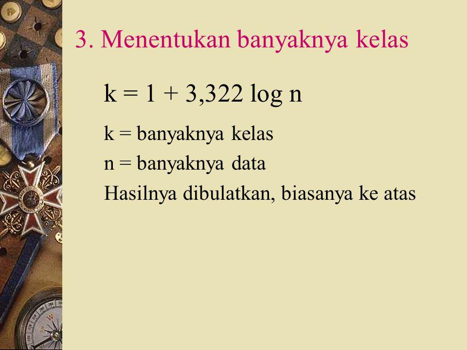 1. Mengurutkan data. Mulai dari data yang terkecil ke yang terbesar. Jangkauan ( R ) : Data terbesar – data terkecil 2. Menentukan jangkauan ( range )
