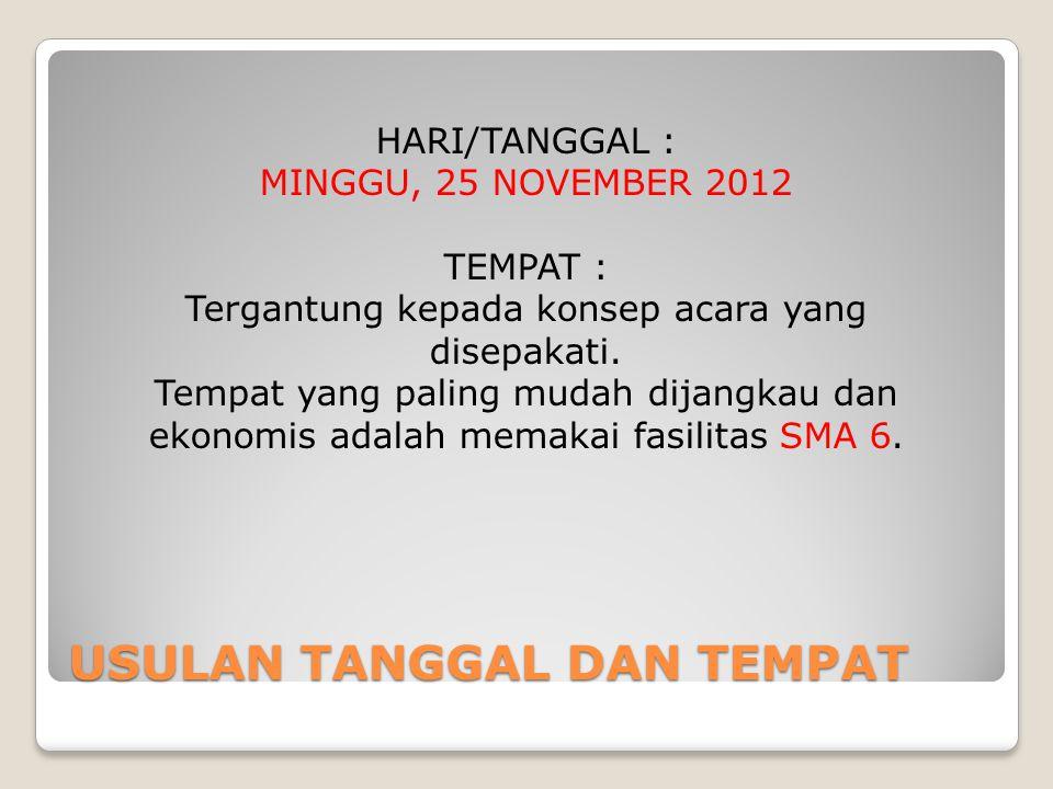 USULAN TANGGAL DAN TEMPAT HARI/TANGGAL : MINGGU, 25 NOVEMBER 2012 TEMPAT : Tergantung kepada konsep acara yang disepakati. Tempat yang paling mudah di
