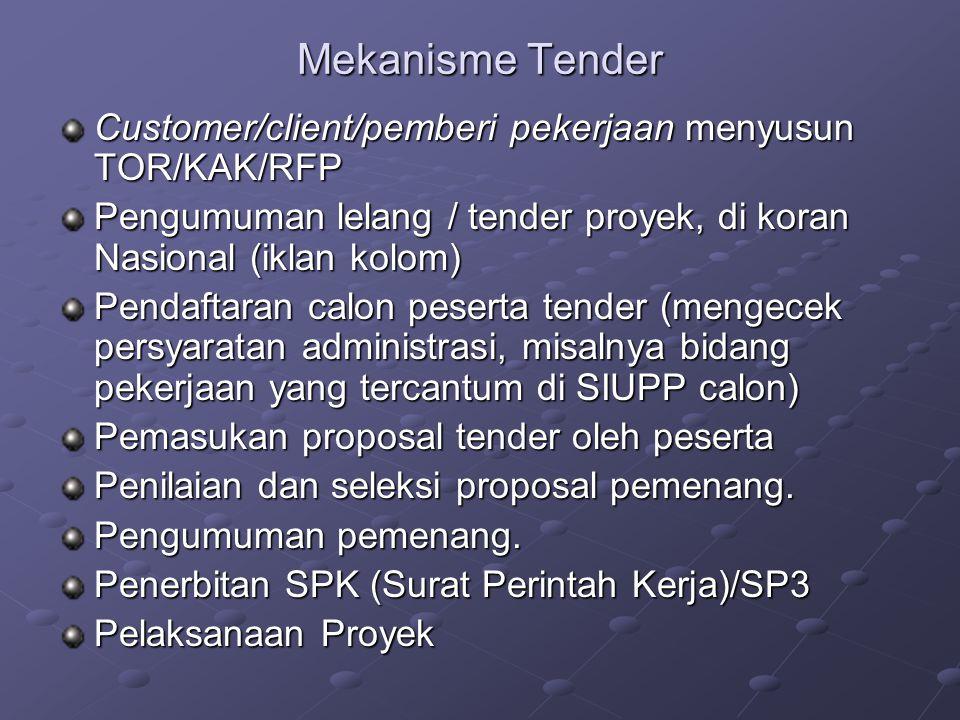 Mekanisme Tender Customer/client/pemberi pekerjaan menyusun TOR/KAK/RFP Pengumuman lelang / tender proyek, di koran Nasional (iklan kolom) Pendaftaran