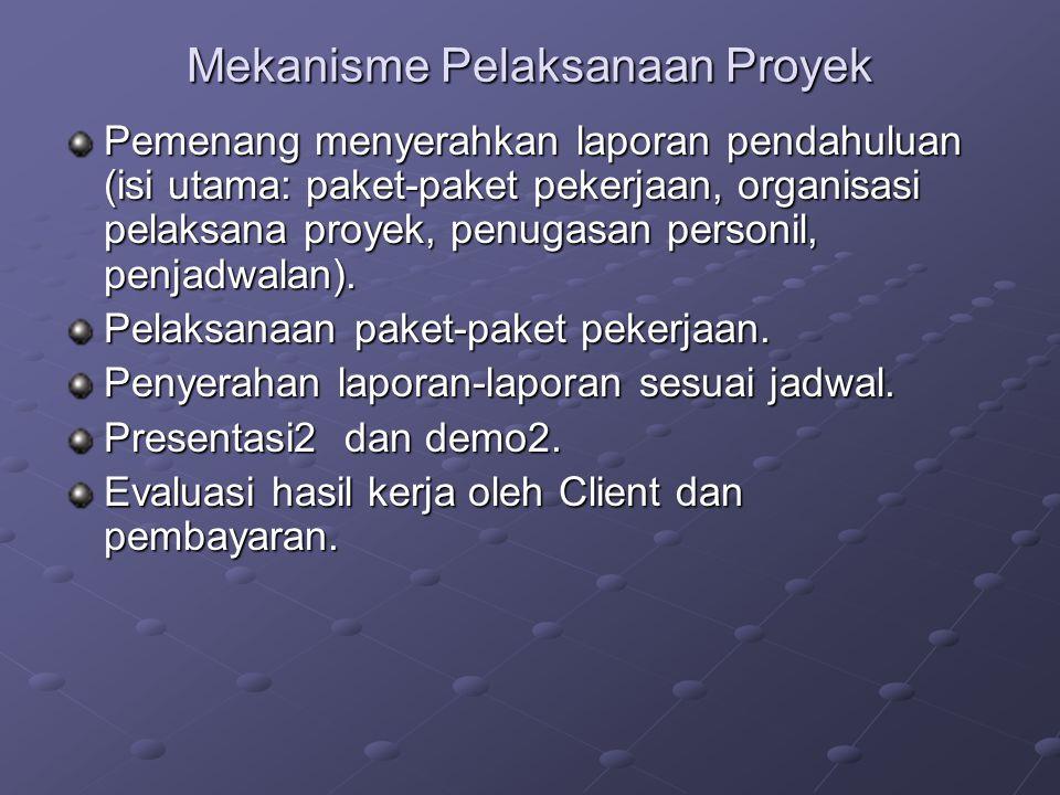 Mekanisme Pelaksanaan Proyek Pemenang menyerahkan laporan pendahuluan (isi utama: paket-paket pekerjaan, organisasi pelaksana proyek, penugasan person