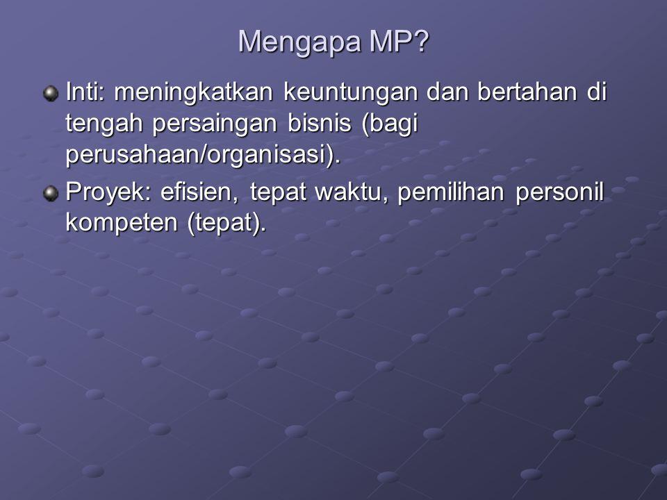 Mengapa MP? Inti: meningkatkan keuntungan dan bertahan di tengah persaingan bisnis (bagi perusahaan/organisasi). Proyek: efisien, tepat waktu, pemilih