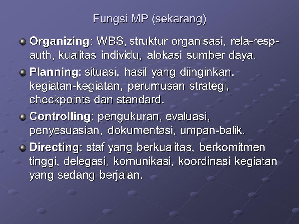 Fungsi MP (sekarang) Organizing: WBS, struktur organisasi, rela-resp- auth, kualitas individu, alokasi sumber daya. Planning: situasi, hasil yang diin