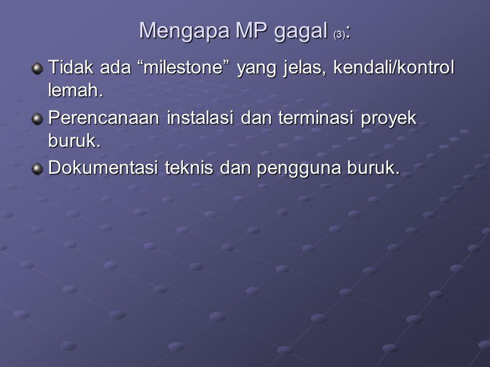 """Mengapa MP gagal (3) : Tidak ada """"milestone"""" yang jelas, kendali/kontrol lemah. Perencanaan instalasi dan terminasi proyek buruk. Dokumentasi teknis d"""