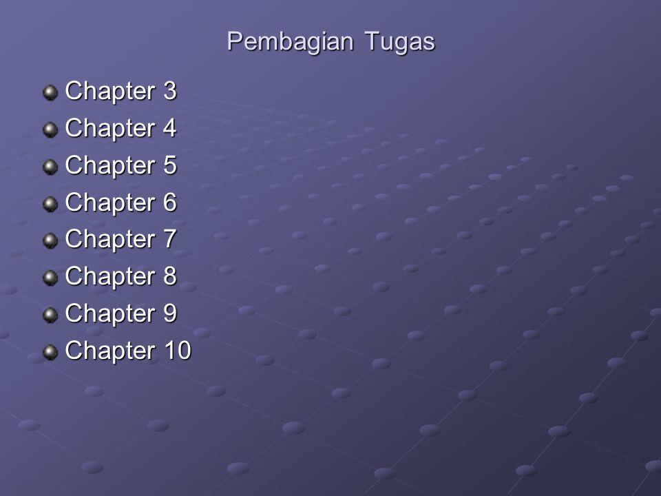 Pembagian Tugas Chapter 3 Chapter 4 Chapter 5 Chapter 6 Chapter 7 Chapter 8 Chapter 9 Chapter 10