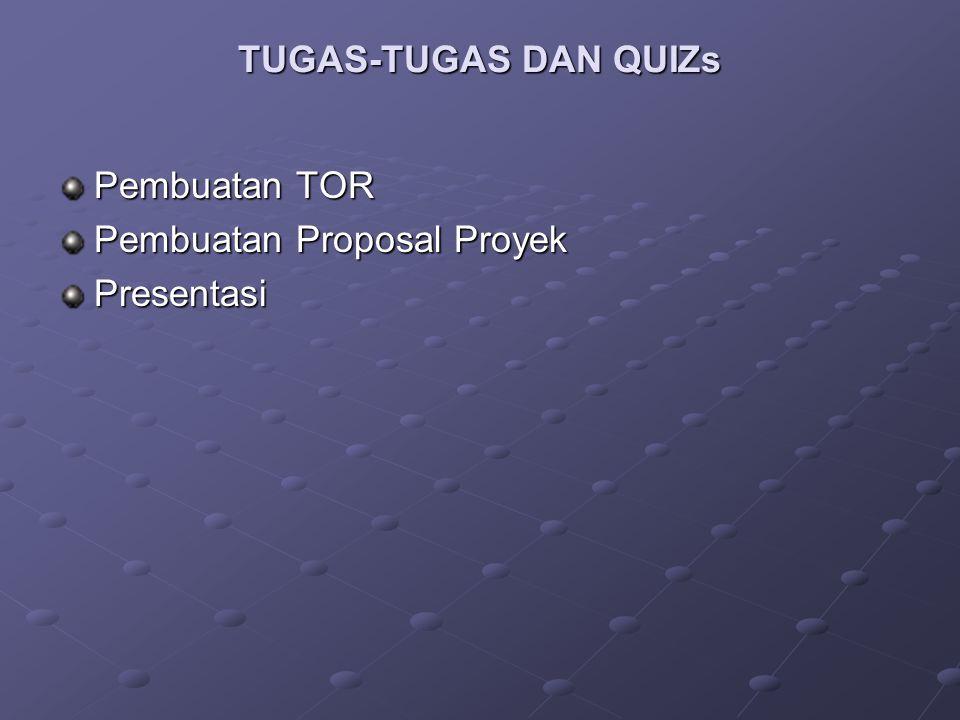 TUGAS-TUGAS DAN QUIZs Pembuatan TOR Pembuatan Proposal Proyek Presentasi