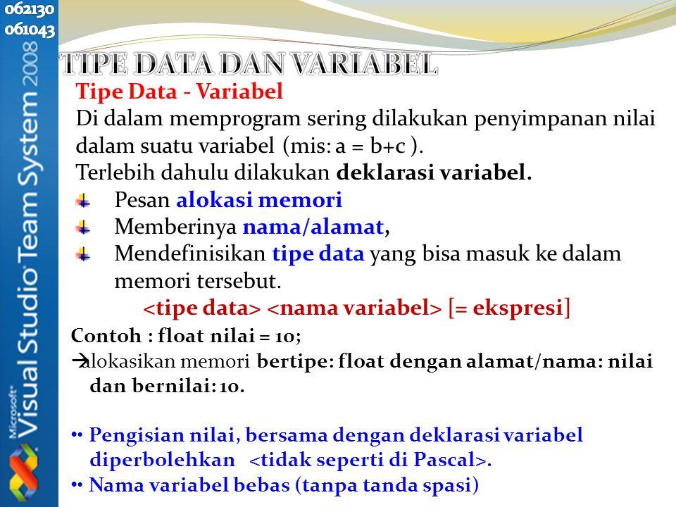 Tipe Data Jumla h Bit JangkauanKeterangan char8-128 s/d 127karakter int16-32768 s/d 32767integer float323.4E-38 s/d 3.4E+38real double641.7E-308 s/d 1.7E+308real presisi ganda void0-Tak bertipe Variabel didefinisikan sebelum digunakan (Pendefinisiannya boleh di mana saja).