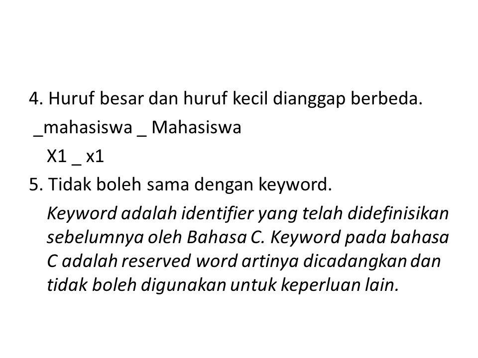 4. Huruf besar dan huruf kecil dianggap berbeda. _mahasiswa _ Mahasiswa X1 _ x1 5. Tidak boleh sama dengan keyword. Keyword adalah identifier yang tel