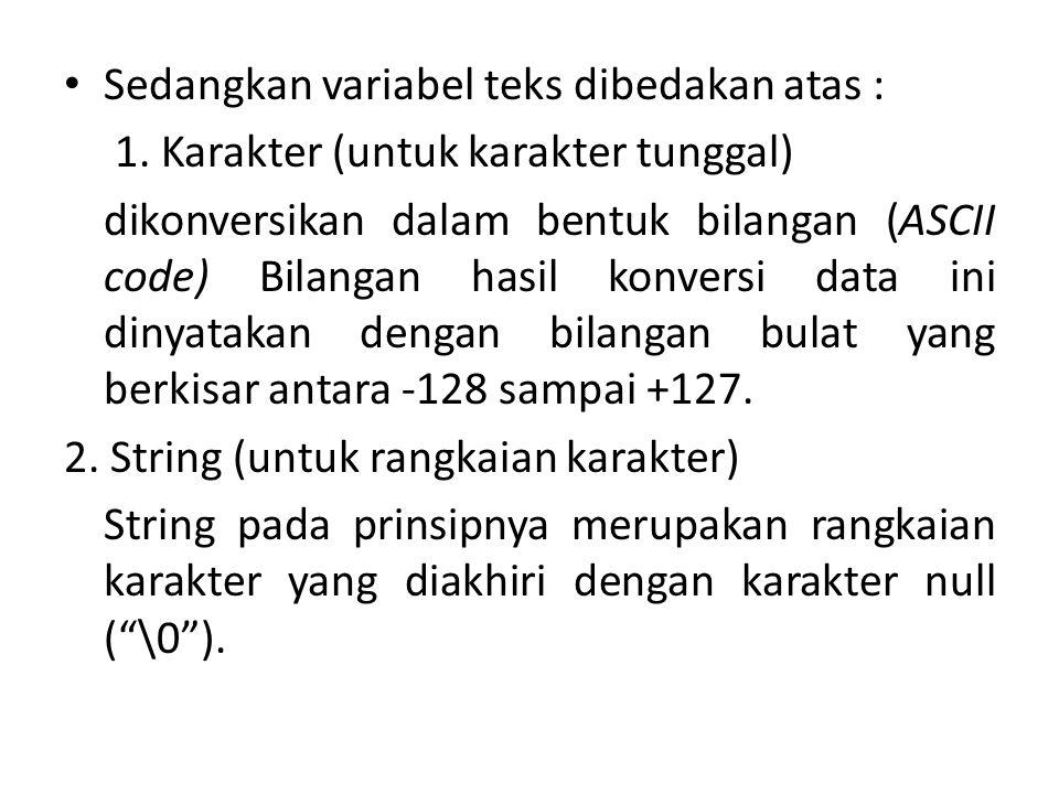 Sedangkan variabel teks dibedakan atas : 1. Karakter (untuk karakter tunggal) dikonversikan dalam bentuk bilangan (ASCII code) Bilangan hasil konversi
