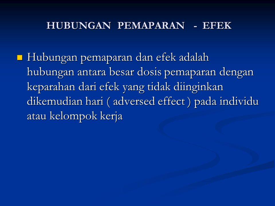 HUBUNGAN PEMAPARAN - EFEK HUBUNGAN PEMAPARAN - EFEK Hubungan pemaparan dan efek adalah hubungan antara besar dosis pemaparan dengan keparahan dari efe