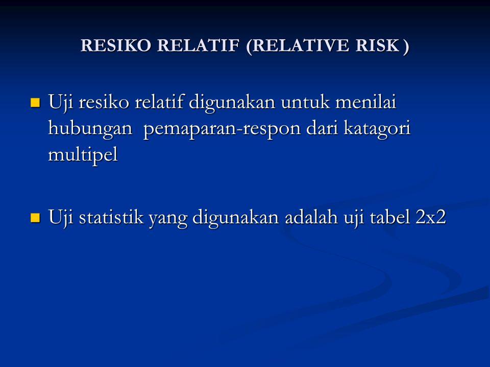 RESIKO RELATIF KATAGORI MULTIPEL Kelompok Tenaga Kerja Kelompok Tenaga Kerja Lama pemaparan Ganguan kesehatann Tidak ada gangguan Resiko relatif Lama pemaparan Ganguan kesehatann Tidak ada gangguan Resiko relatif ( pada suatu dosis) ( kasus ) ( kontrol ) (RR ) ( pada suatu dosis) ( kasus ) ( kontrol ) (RR ) 0 ( Kel.Kontrol ) 10 100 1.0 0 ( Kel.Kontrol ) 10 100 1.0 1-4 30 150 2.0 1-4 30 150 2.0 5-9 75 250 3.0 5-9 75 250 3.0