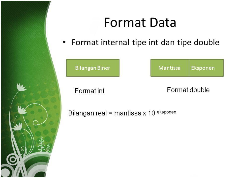 Format Data Format internal tipe int dan tipe double Bilangan BinerMantissa Eksponen Format int Format double Bilangan real = mantissa x 10 eksponen