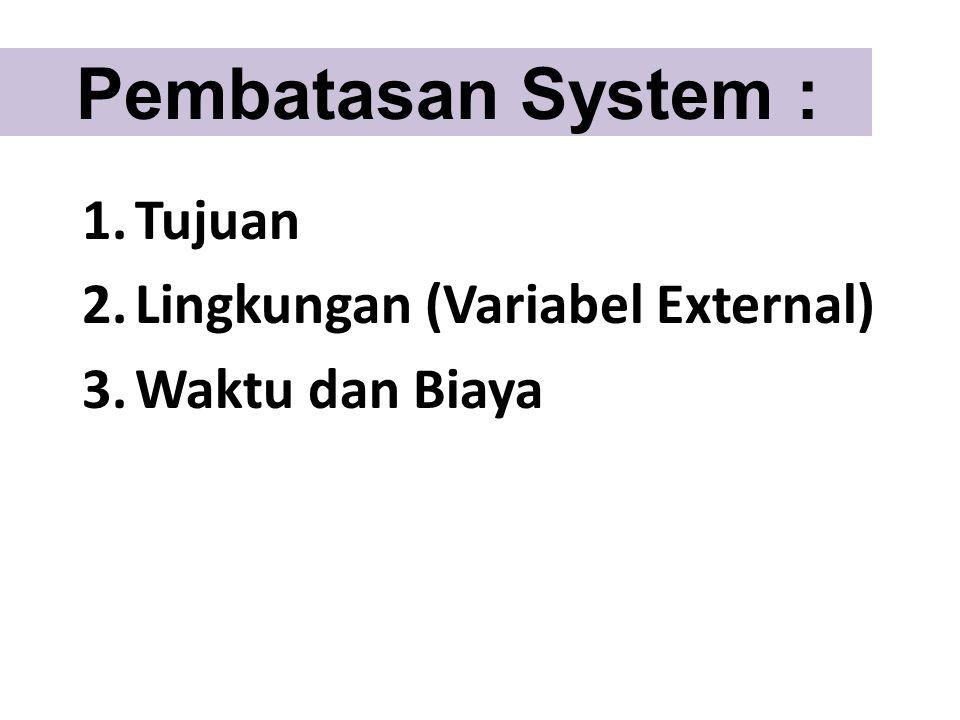 Pembatasan System : 1.Tujuan 2.Lingkungan (Variabel External) 3.Waktu dan Biaya