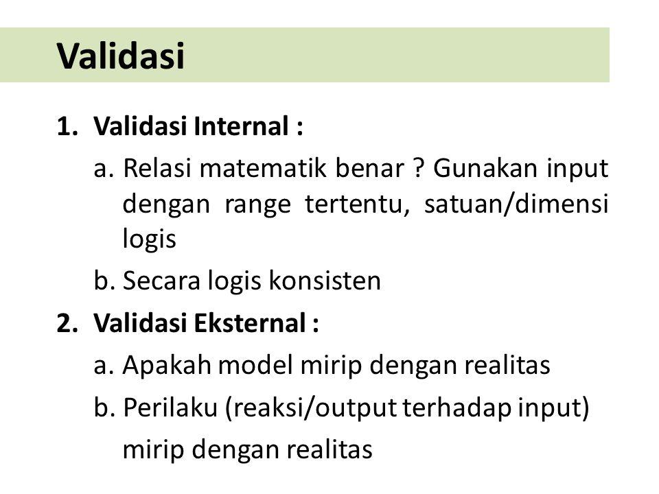 Validasi 1.Validasi Internal : a. Relasi matematik benar ? Gunakan input dengan range tertentu, satuan/dimensi logis b. Secara logis konsisten 2.Valid