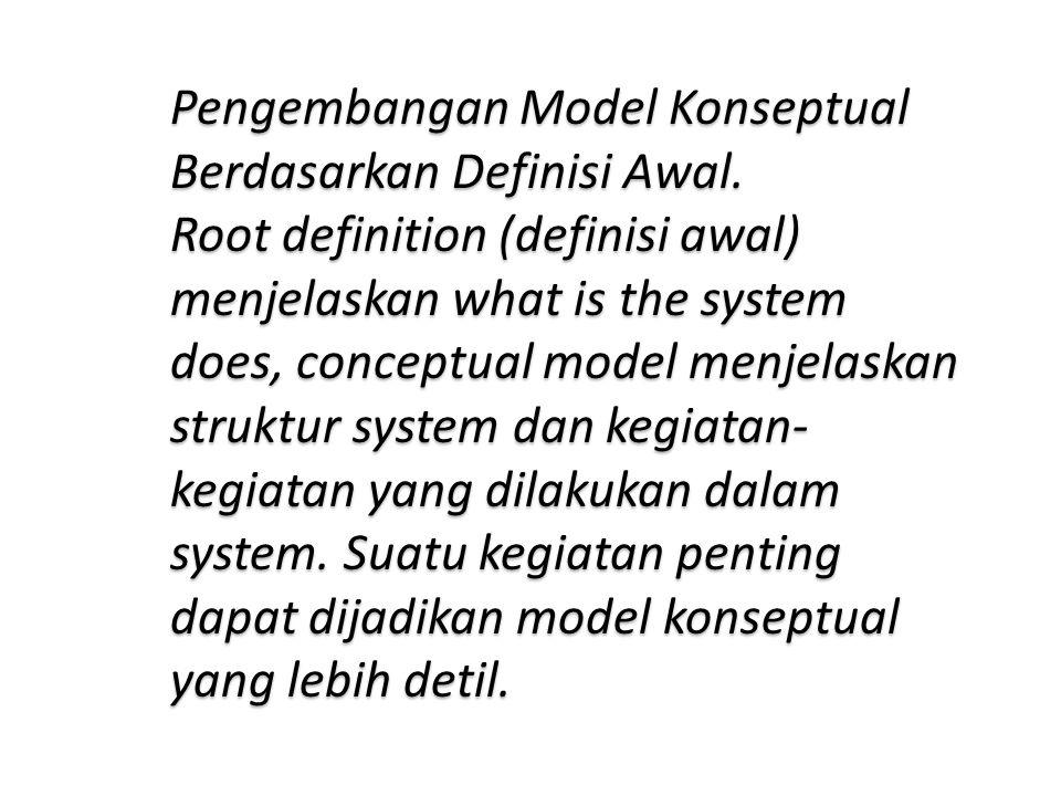 Pengembangan Model Konseptual Berdasarkan Definisi Awal. Root definition (definisi awal) menjelaskan what is the system does, conceptual model menjela
