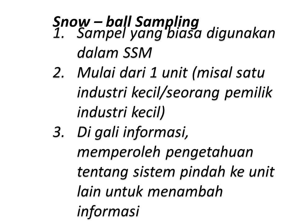 Snow – ball Sampling 1.Sampel yang biasa digunakan dalam SSM 2.Mulai dari 1 unit (misal satu industri kecil/seorang pemilik industri kecil) 3.Di gali informasi, memperoleh pengetahuan tentang sistem pindah ke unit lain untuk menambah informasi