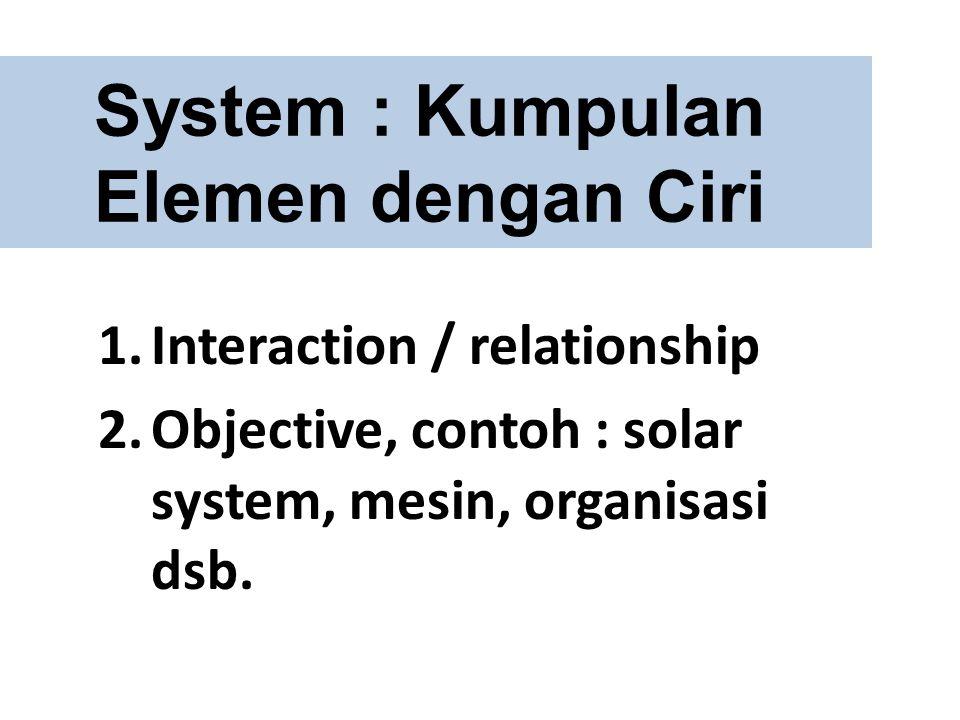 System : Kumpulan Elemen dengan Ciri 1.Interaction / relationship 2.Objective, contoh : solar system, mesin, organisasi dsb.