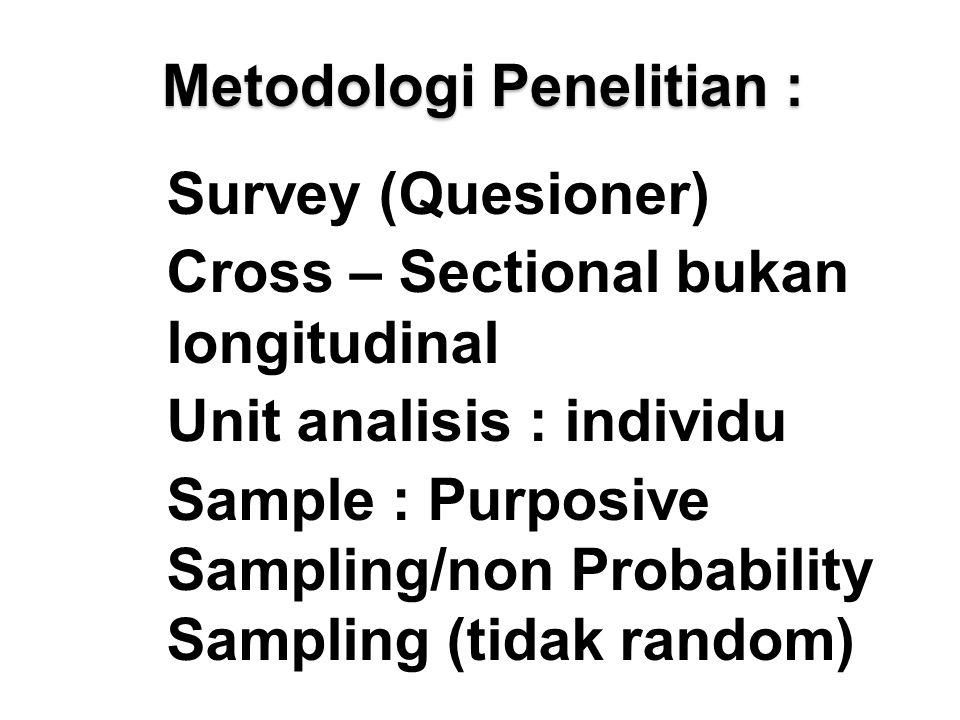 Metodologi Penelitian : Survey (Quesioner) Cross – Sectional bukan longitudinal Unit analisis : individu Sample : Purposive Sampling/non Probability Sampling (tidak random)