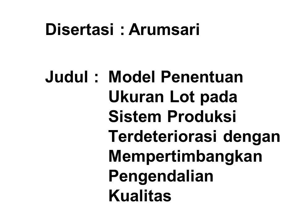 Disertasi:Arumsari Judul :Model Penentuan Ukuran Lot pada Sistem Produksi Terdeteriorasi dengan Mempertimbangkan Pengendalian Kualitas