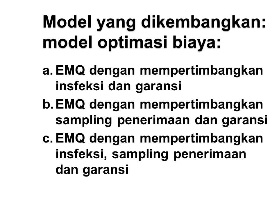 Model yang dikembangkan: model optimasi biaya: a.EMQ dengan mempertimbangkan insfeksi dan garansi b.EMQ dengan mempertimbangkan sampling penerimaan dan garansi c.EMQ dengan mempertimbangkan insfeksi, sampling penerimaan dan garansi