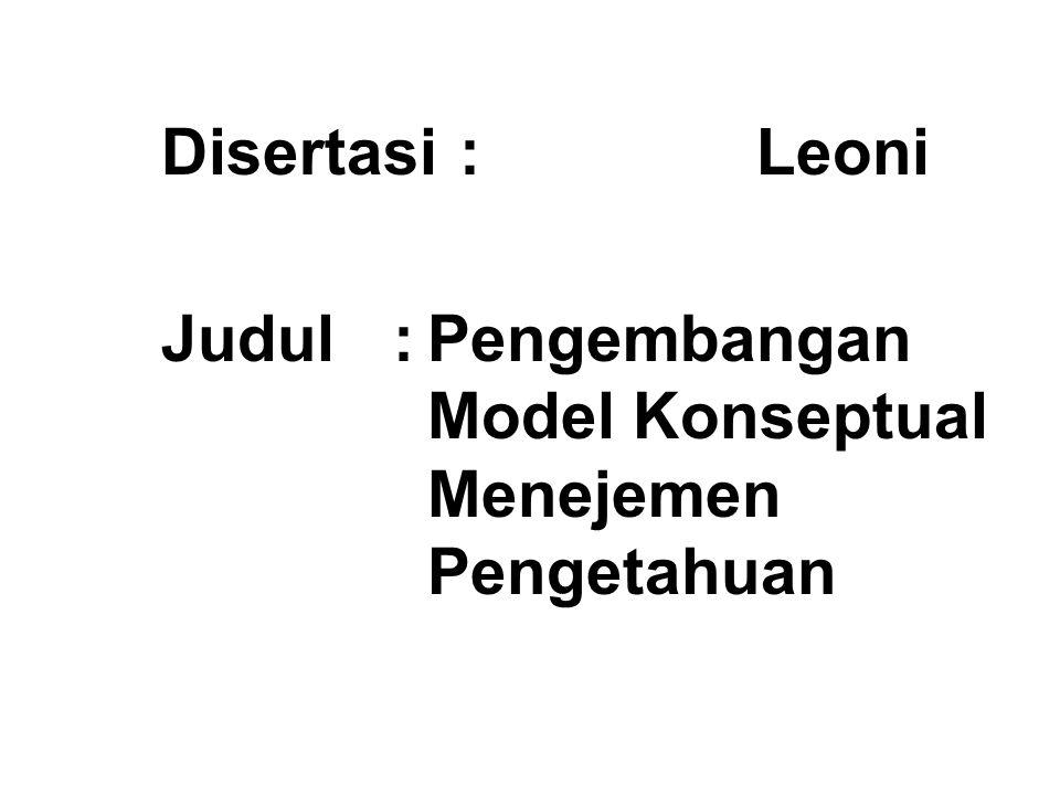 Disertasi:Leoni Judul :Pengembangan Model Konseptual Menejemen Pengetahuan