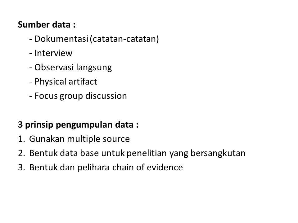 Sumber data : - Dokumentasi (catatan-catatan) - Interview - Observasi langsung - Physical artifact - Focus group discussion 3 prinsip pengumpulan data : 1.Gunakan multiple source 2.Bentuk data base untuk penelitian yang bersangkutan 3.Bentuk dan pelihara chain of evidence