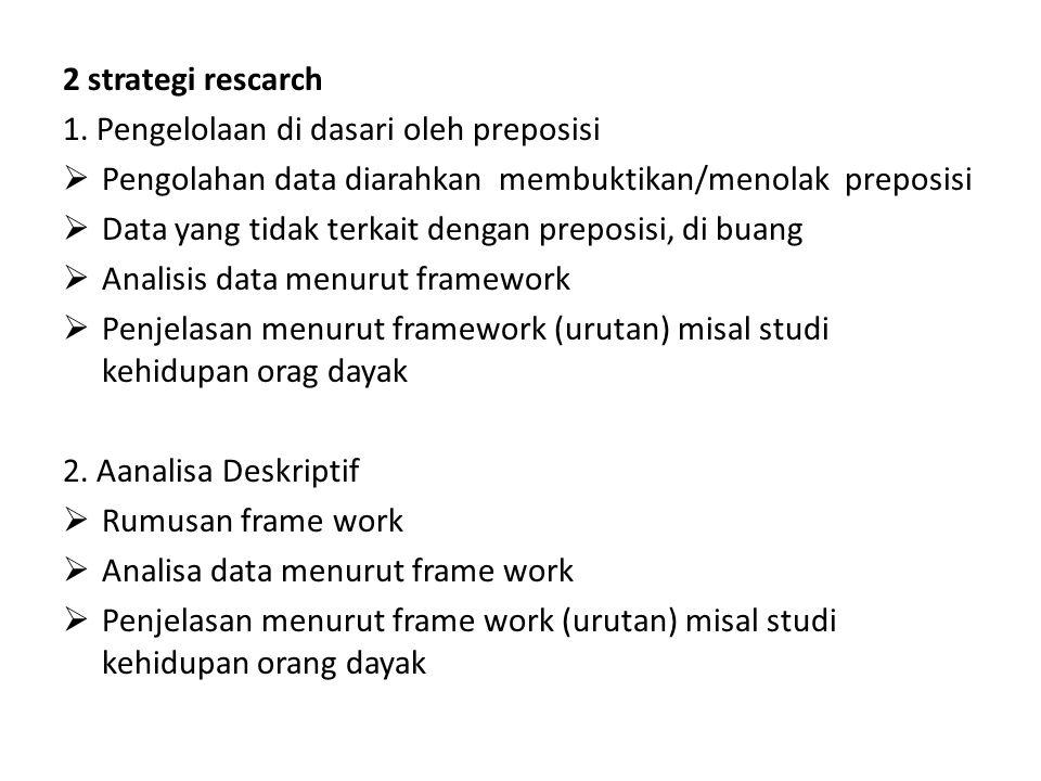 2 strategi rescarch 1. Pengelolaan di dasari oleh preposisi  Pengolahan data diarahkan membuktikan/menolak preposisi  Data yang tidak terkait dengan