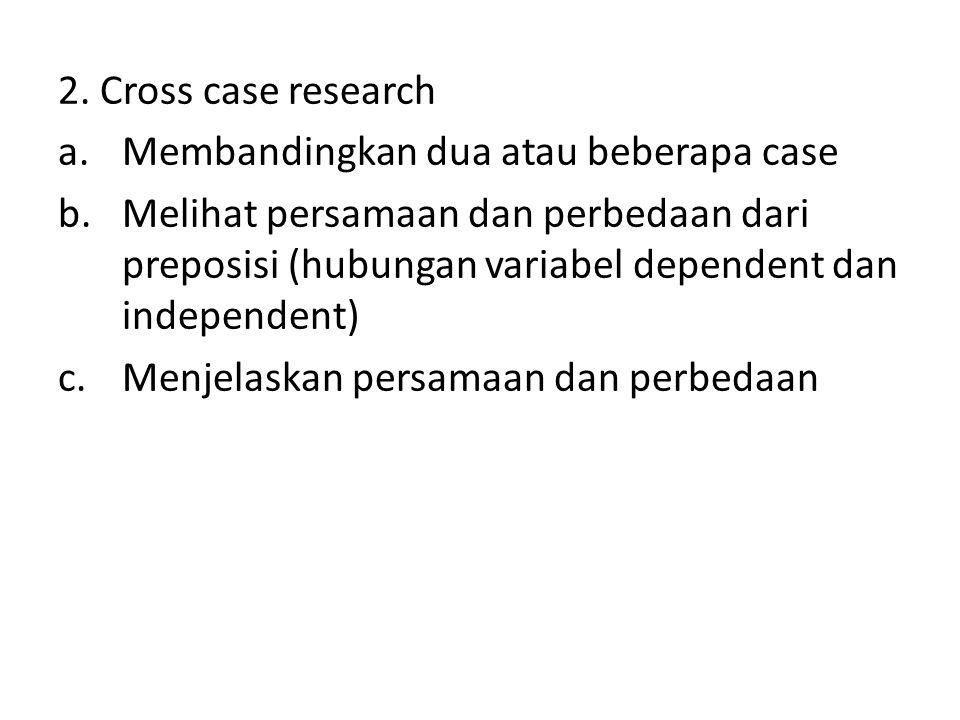 2. Cross case research a.Membandingkan dua atau beberapa case b.Melihat persamaan dan perbedaan dari preposisi (hubungan variabel dependent dan indepe