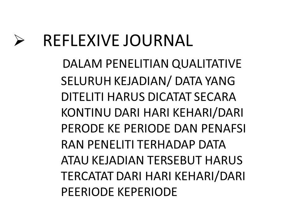  REFLEXIVE JOURNAL DALAM PENELITIAN QUALITATIVE SELURUH KEJADIAN/ DATA YANG DITELITI HARUS DICATAT SECARA KONTINU DARI HARI KEHARI/DARI PERODE KE PER