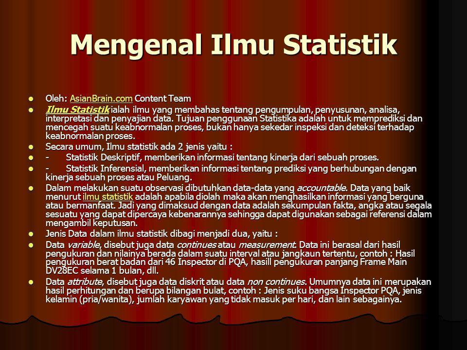 Mengenal Ilmu Statistik Oleh: AsianBrain.com Content Team Oleh: AsianBrain.com Content TeamAsianBrain.com Ilmu Statistik ialah ilmu yang membahas tent