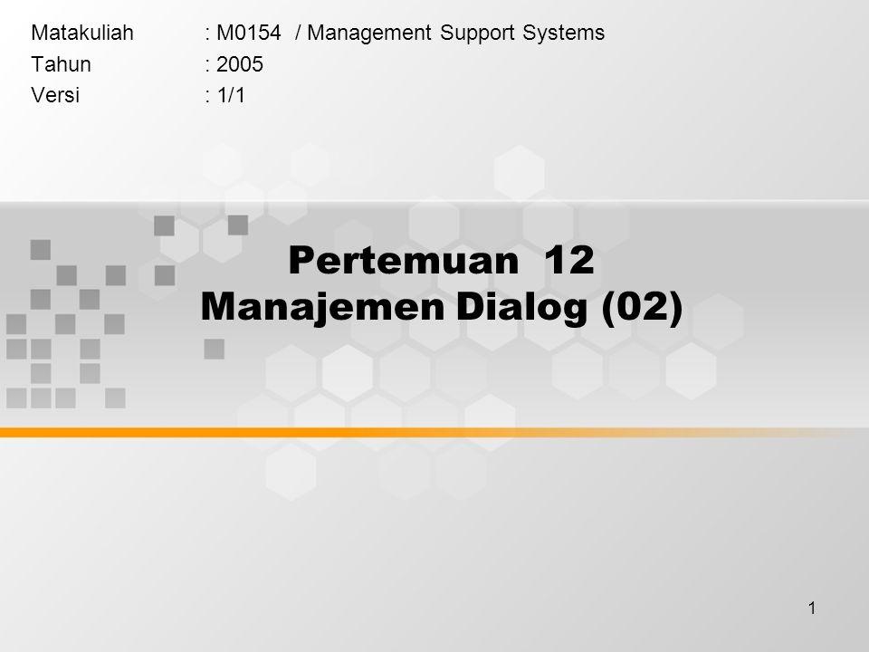 1 Pertemuan 12 Manajemen Dialog (02) Matakuliah: M0154 / Management Support Systems Tahun: 2005 Versi: 1/1