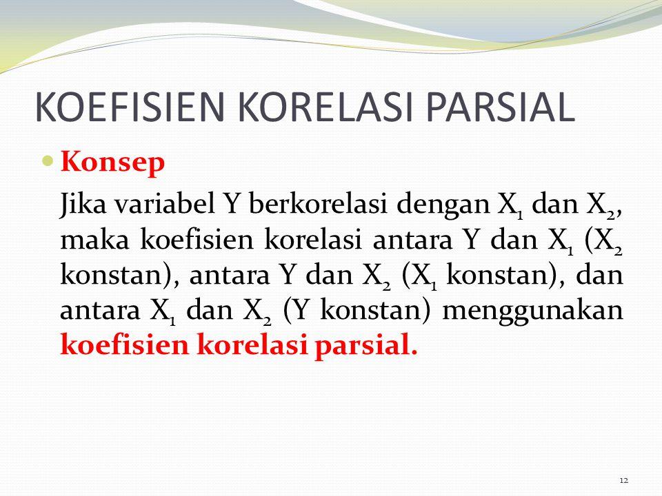 KOEFISIEN KORELASI PARSIAL Konsep Jika variabel Y berkorelasi dengan X 1 dan X 2, maka koefisien korelasi antara Y dan X 1 (X 2 konstan), antara Y dan