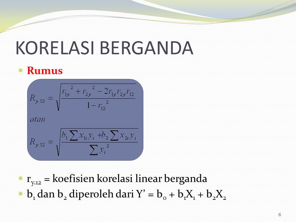 KORELASI BERGANDA Rumus r y.12 = koefisien korelasi linear berganda b 1 dan b 2 diperoleh dari Y' = b 0 + b 1 X 1 + b 2 X 2 6