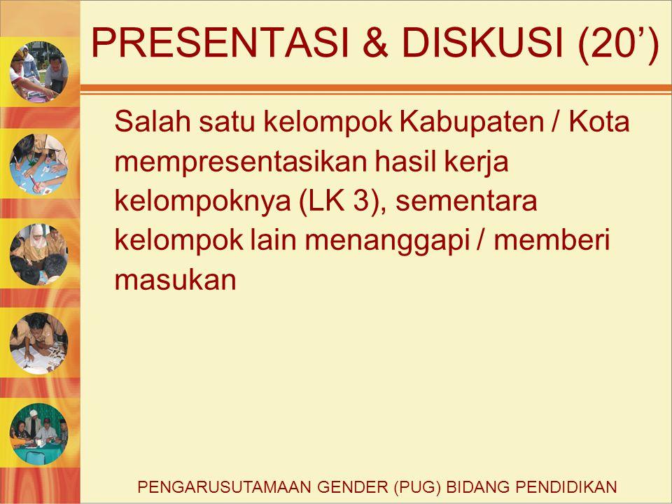 PRESENTASI & DISKUSI (20') Salah satu kelompok Kabupaten / Kota mempresentasikan hasil kerja kelompoknya (LK 3), sementara kelompok lain menanggapi /