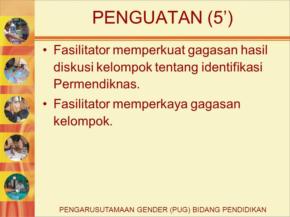 PENGUATAN (5') Fasilitator memperkuat gagasan hasil diskusi kelompok tentang identifikasi Permendiknas. Fasilitator memperkaya gagasan kelompok. PENGA