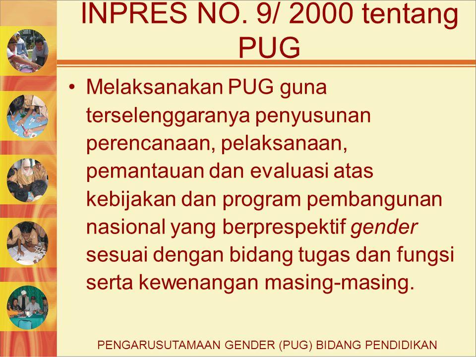 Melaksanakan PUG guna terselenggaranya penyusunan perencanaan, pelaksanaan, pemantauan dan evaluasi atas kebijakan dan program pembangunan nasional yang berprespektif gender sesuai dengan bidang tugas dan fungsi serta kewenangan masing-masing.