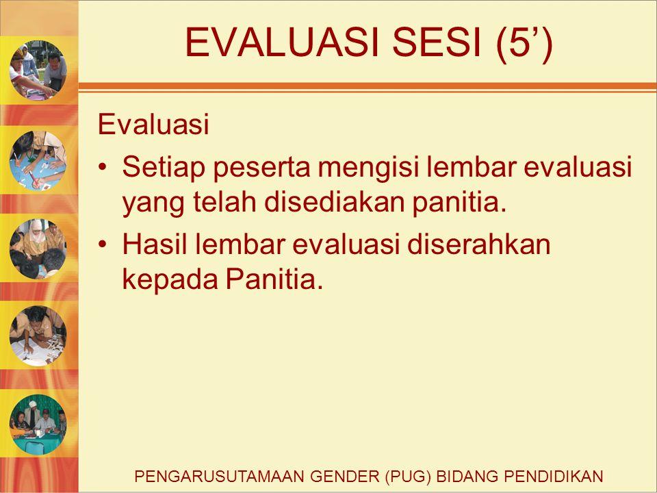 EVALUASI SESI (5') Evaluasi Setiap peserta mengisi lembar evaluasi yang telah disediakan panitia. Hasil lembar evaluasi diserahkan kepada Panitia. PEN