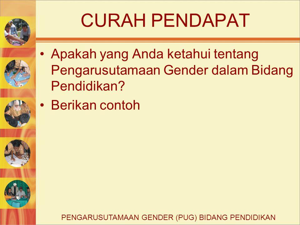 CURAH PENDAPAT Apakah yang Anda ketahui tentang Pengarusutamaan Gender dalam Bidang Pendidikan? Berikan contoh PENGARUSUTAMAAN GENDER (PUG) BIDANG PEN