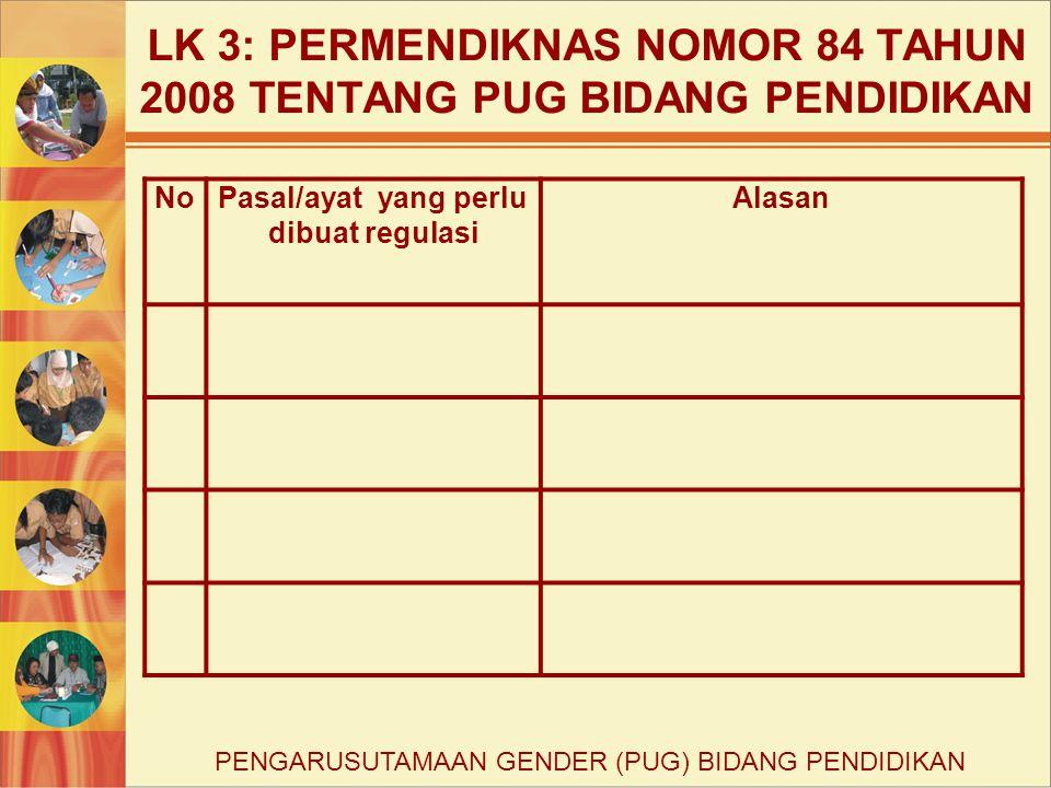 LK 3: PERMENDIKNAS NOMOR 84 TAHUN 2008 TENTANG PUG BIDANG PENDIDIKAN NoPasal/ayat yang perlu dibuat regulasi Alasan PENGARUSUTAMAAN GENDER (PUG) BIDAN