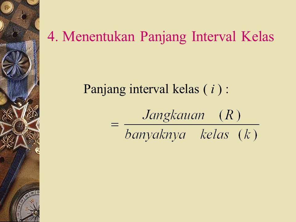 3. Menentukan banyaknya kelas k = 1 + 3,322 log n k = banyaknya kelas n = banyaknya data Hasilnya dibulatkan, biasanya ke atas