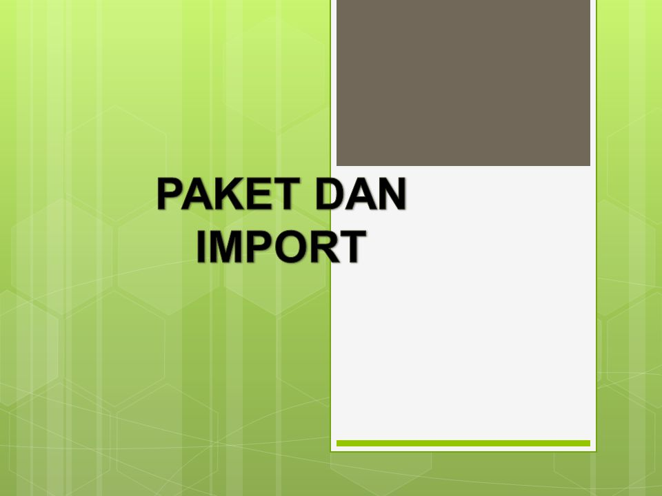 Cont'd Adakalanya anda menjumpai bentuk pengimport semacam berikut: Import nama_paket.*; Tanda wildcard * menyatakan semua kelas pada paket nama_paket Contoh: Import java.io.*; Berarti semua kelas yang berada pada paket java.io.