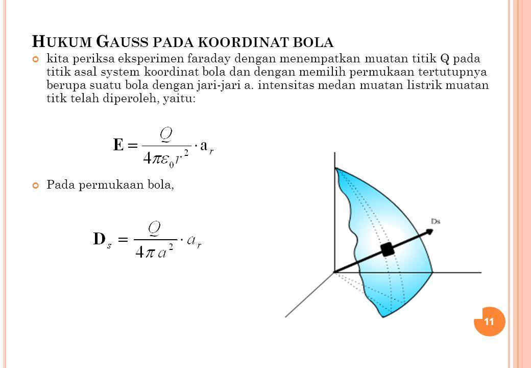 H UKUM G AUSS PADA KOORDINAT BOLA kita periksa eksperimen faraday dengan menempatkan muatan titik Q pada titik asal system koordinat bola dan dengan m