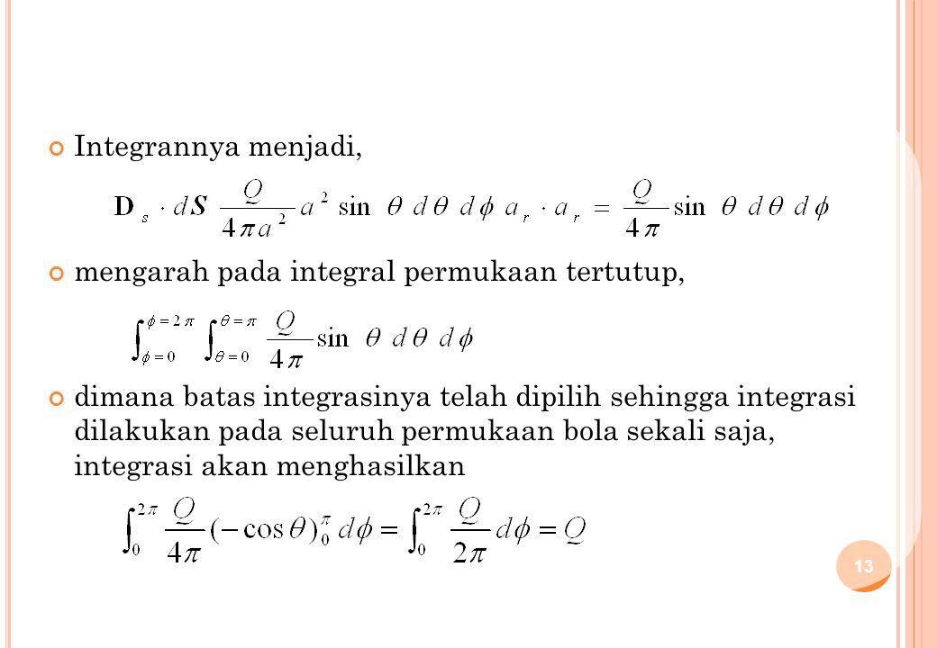 Integrannya menjadi, mengarah pada integral permukaan tertutup, dimana batas integrasinya telah dipilih sehingga integrasi dilakukan pada seluruh perm