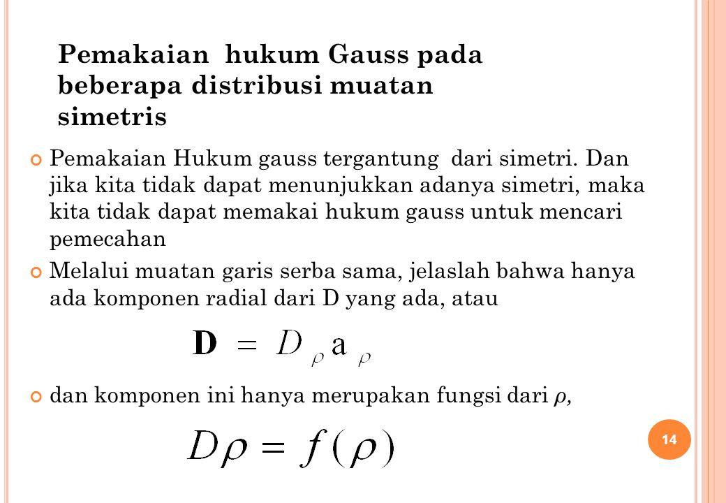 Pemakaian Hukum gauss tergantung dari simetri. Dan jika kita tidak dapat menunjukkan adanya simetri, maka kita tidak dapat memakai hukum gauss untuk m