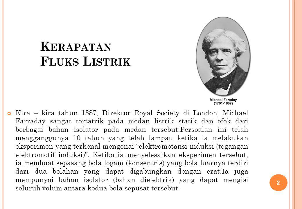 K ERAPATAN F LUKS L ISTRIK Kira – kira tahun 1387, Direktur Royal Society di London, Michael Farraday sangat tertatrik pada medan listrik statik dan e