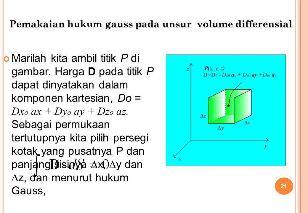 Marilah kita ambil titik P di gambar. Harga D pada titik P dapat dinyatakan dalam komponen kartesian, Do = Dx o ax + Dy o ay + Dz o az. Sebagai permuk